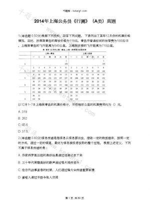 2014年上海公务员《行测》(A类)真题下载