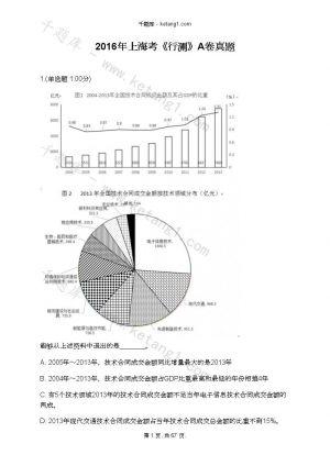2016年上海考《行测》A卷真题下载