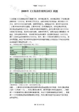 2005年《工程造价案例分析》真题下载